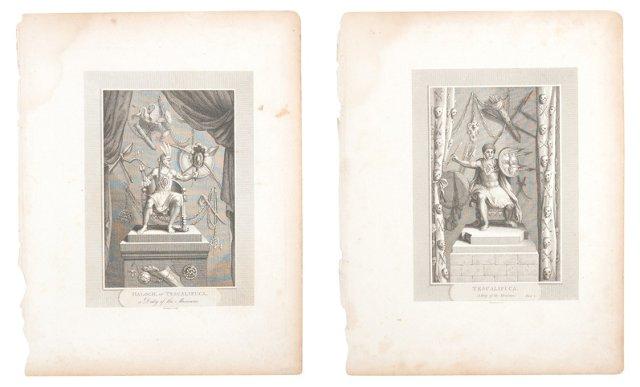 Antique Warrior Engravings, Set of 2