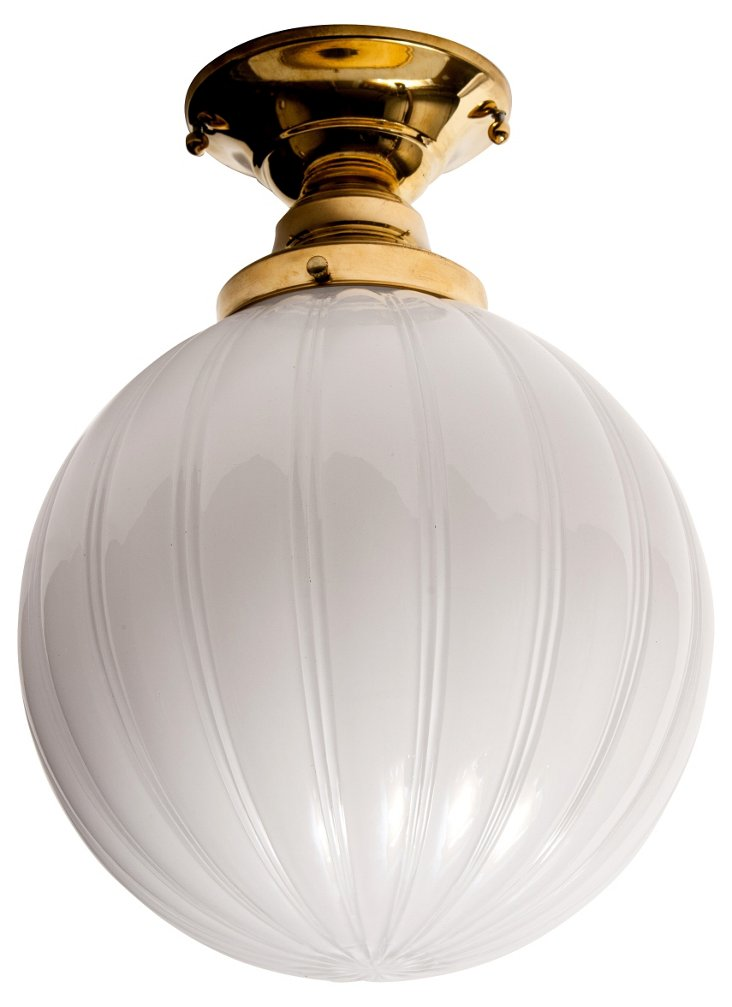 Vintage-Style White Glass Ball Fixture
