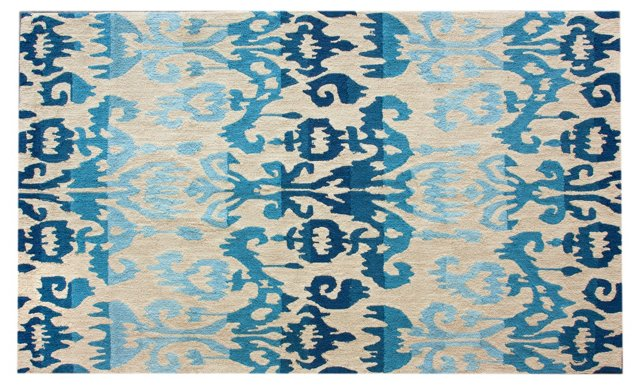 Ikat Rug, Blue/Cream