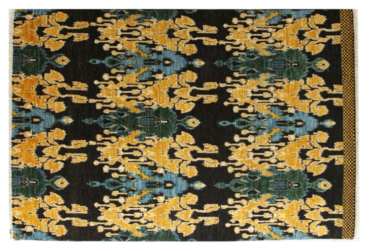 Hand-Knotted Ikat Rug, Black