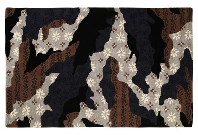 5'x8' Camo Rug, Black/Brown/Gray