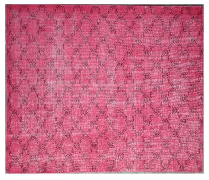 6'x9' Overdyed Trellis Rug, Pink