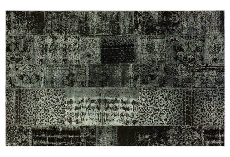Pisa Over-Dyed Rug, Charcoal/Mint