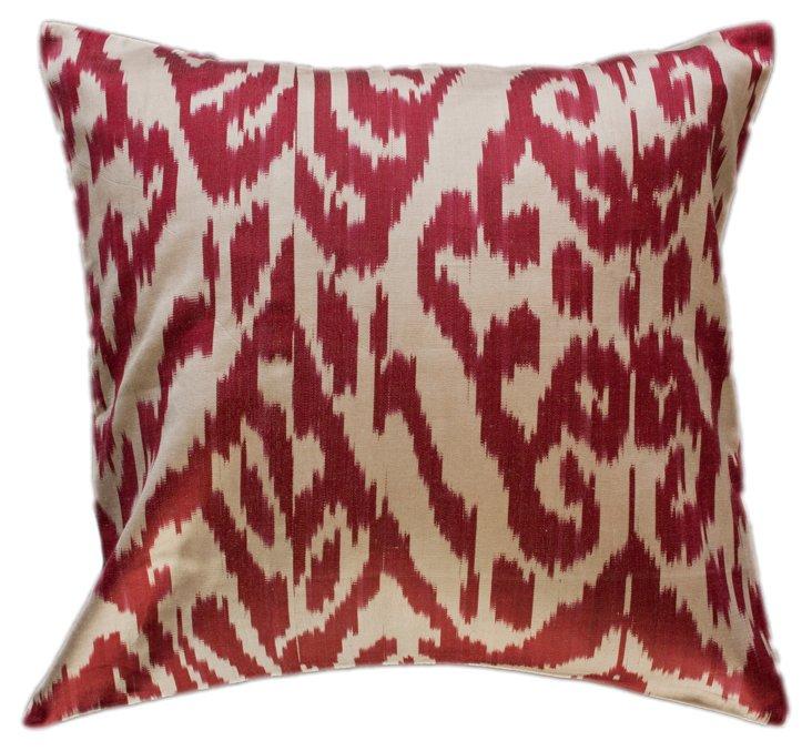 Jubilee Ikat 18x18 Pillow, Maroon/Cream