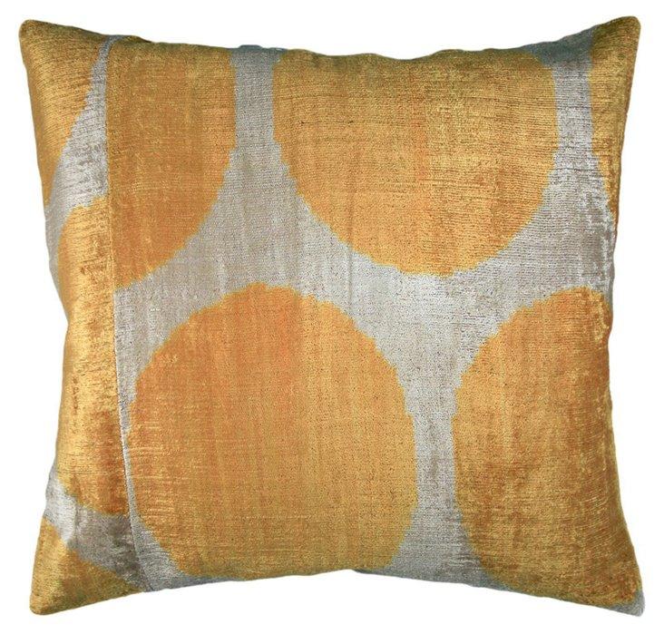 Ikat Dot 18x18 Pillow, Yellow/Tan