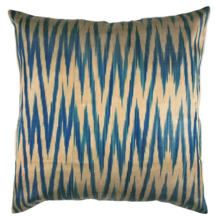 Zigzag 18x18 Silk-Blended Pillow, Blue