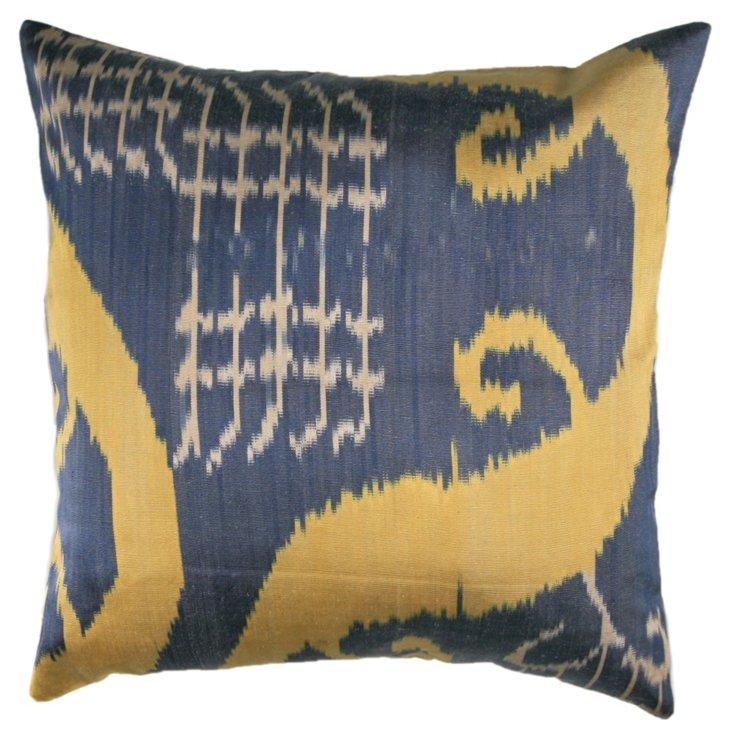Silk Ikat 18x18 Pillow, Blue/Multi