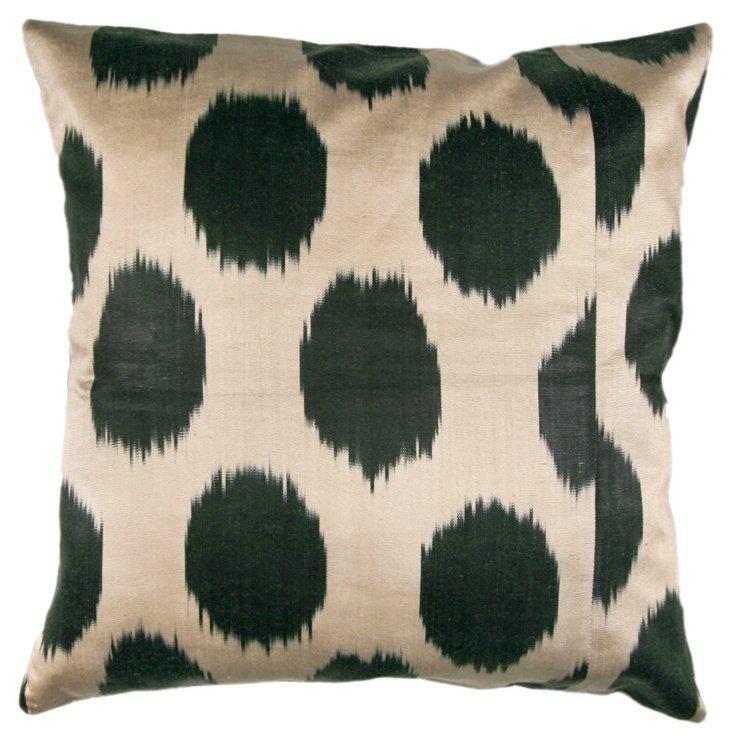 Ikat Dots 18x18 Pillow, Cream/Green