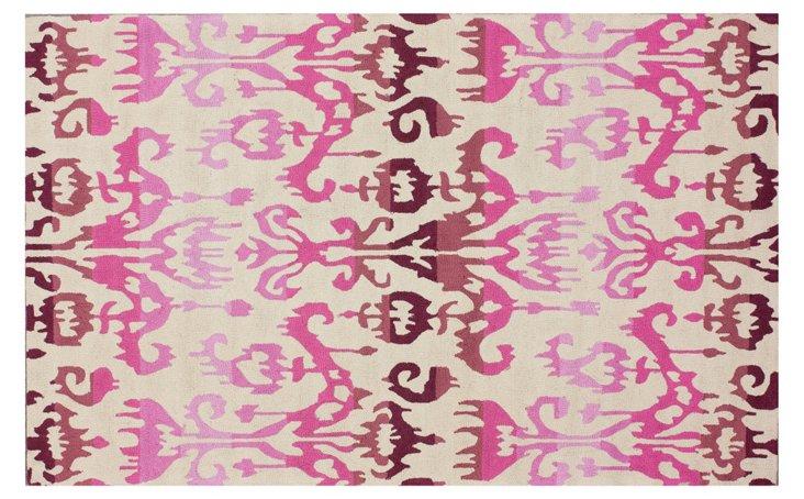 Ikat Rug, Ivory/Pink