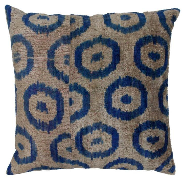 Bullseye 18x18 Pillow, Blue/Tan