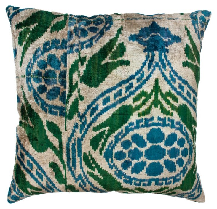 Toluca Ikat 18x18 Pillow, Green