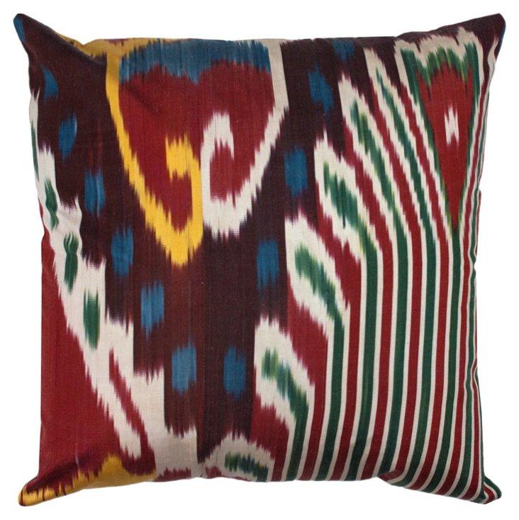 Silk Ikat 18x18 Pillow, Maroon/Multi