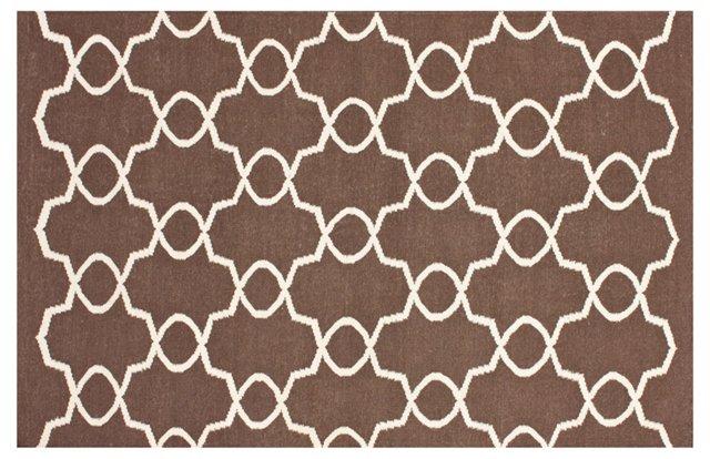 5'x8' Elmer Flat-Weave Rug, Cocoa/Linen