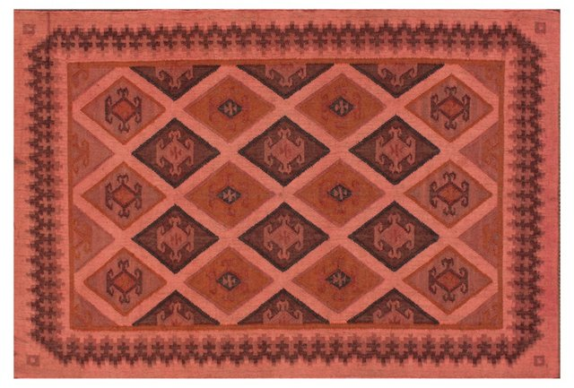 Felicity Flat-Weave Rug, Salmon