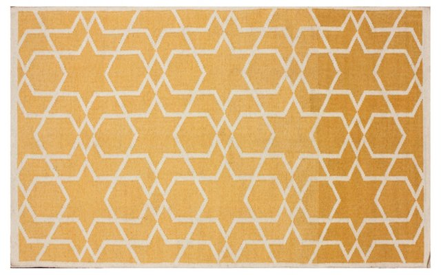 5'x8' Tia Flat-Weave Rug, Butter/Ivory