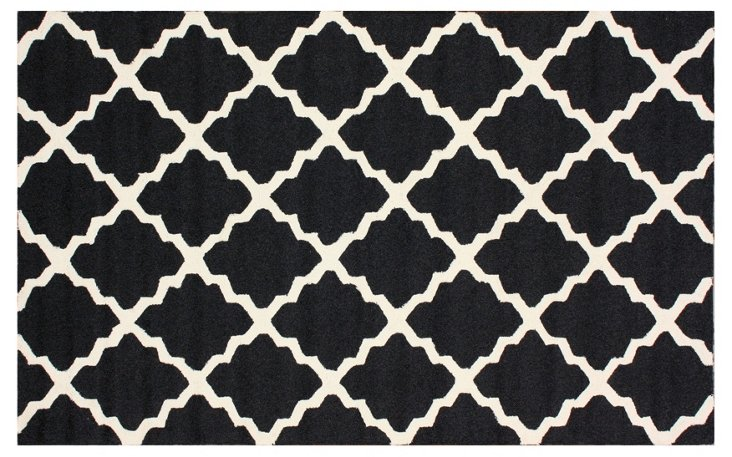 Trellis Outdoor Rug, Black/Ivory