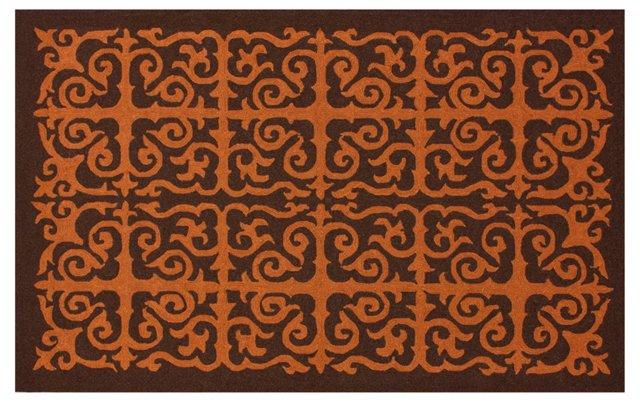 Corcoran Outdoor Rug, Rust/Brown