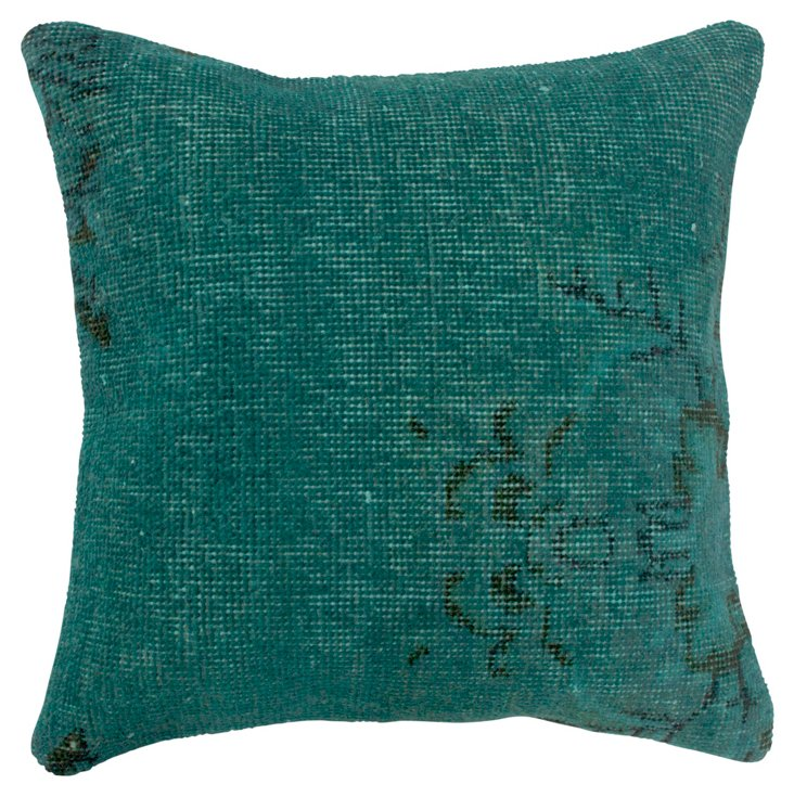 Over-Dyed 18x18 Pillow, Teal