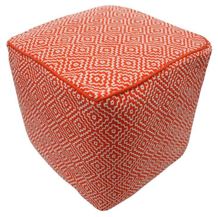 Helena Cube Pouf, Orange/White