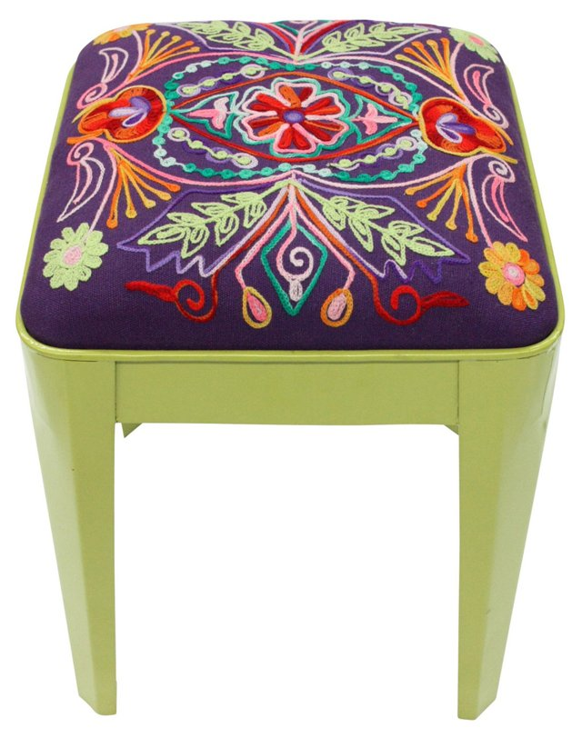 Milly Embroidered Stool, Green