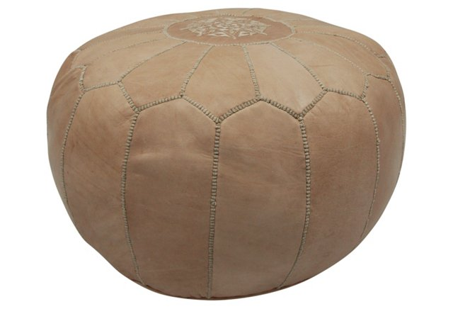 *Moroccan Leather Pouf, Cocoa