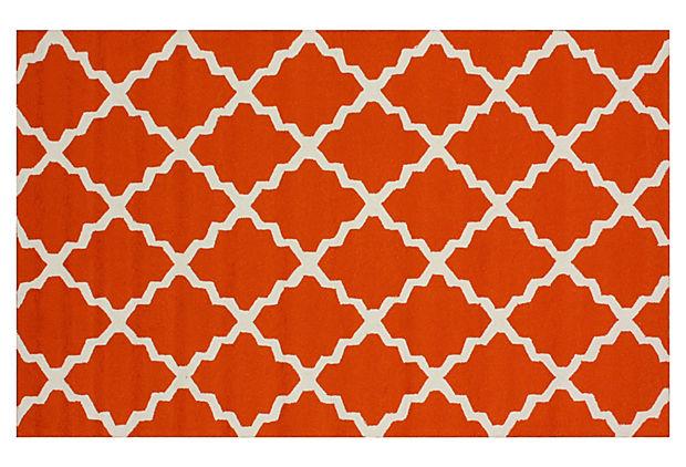 Trellis Outdoor Rug Orange White