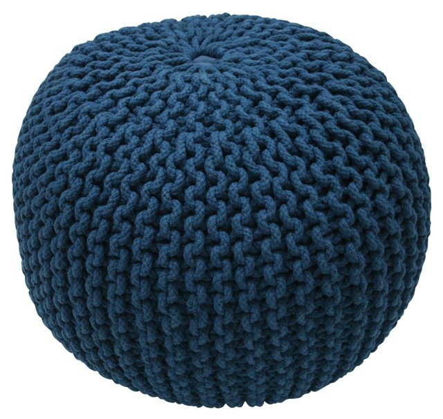 Kelli Knitted Pouf, Navy