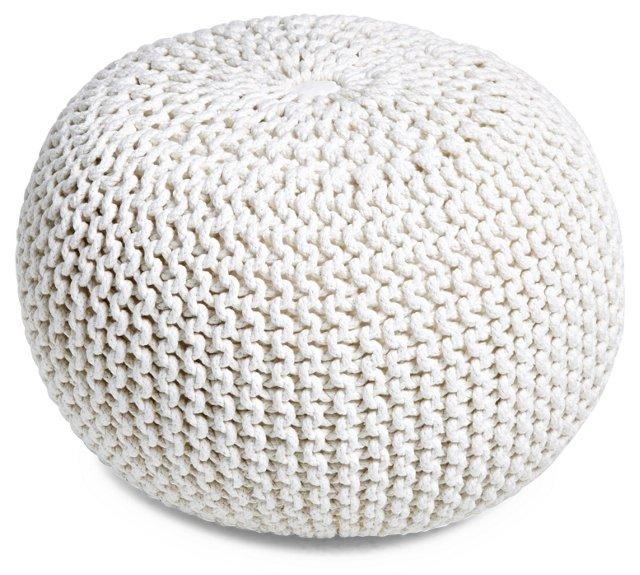 Kelli Knitted Pouf, White