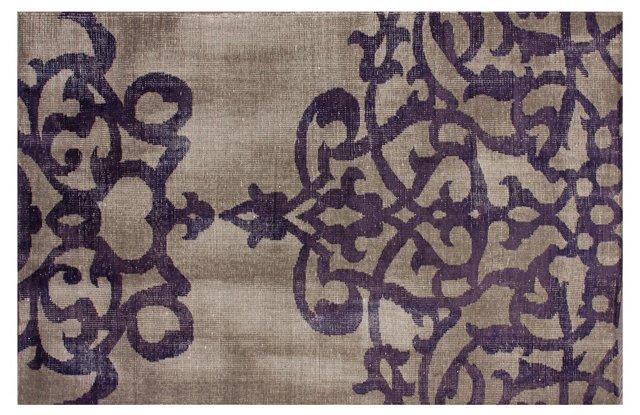 Victoria Rug, Taupe/Violet