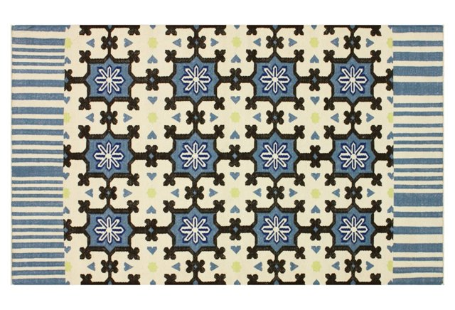 Galina Flat-Weave Rug, Denim/Cream