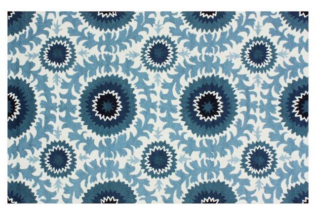 5'x8' Tace Rug, Ocean Blue/Cream