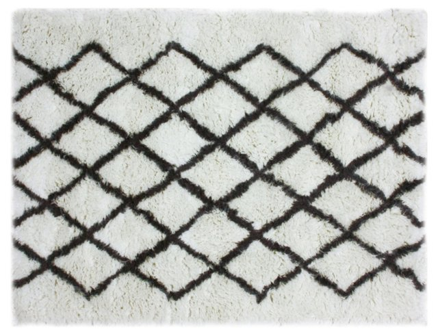 5'x7' Jenifry Rug, Ivory/Black