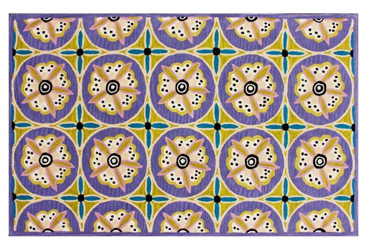 5'x8' Mikhail Rug, Lavender/Teal/Multi