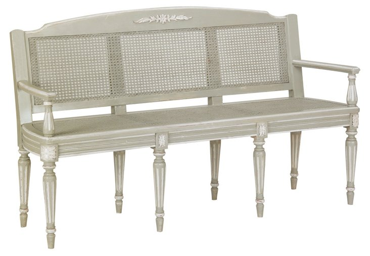 Angelique Bench, Distressed White/Gray