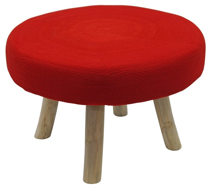 Hudson Ottoman, Red/Natural
