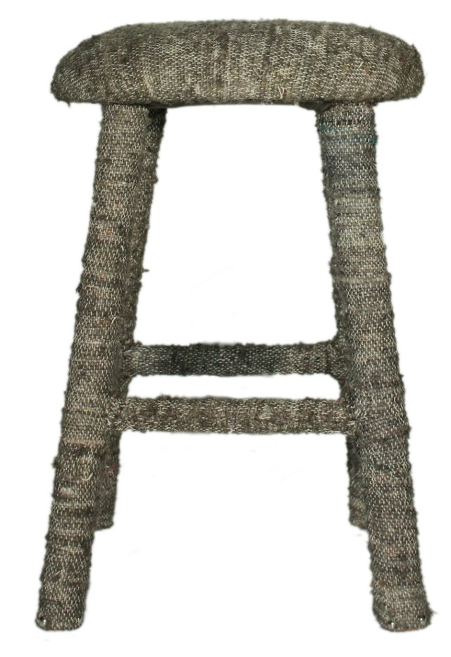 Recycled Silk Counter Stool, Gray