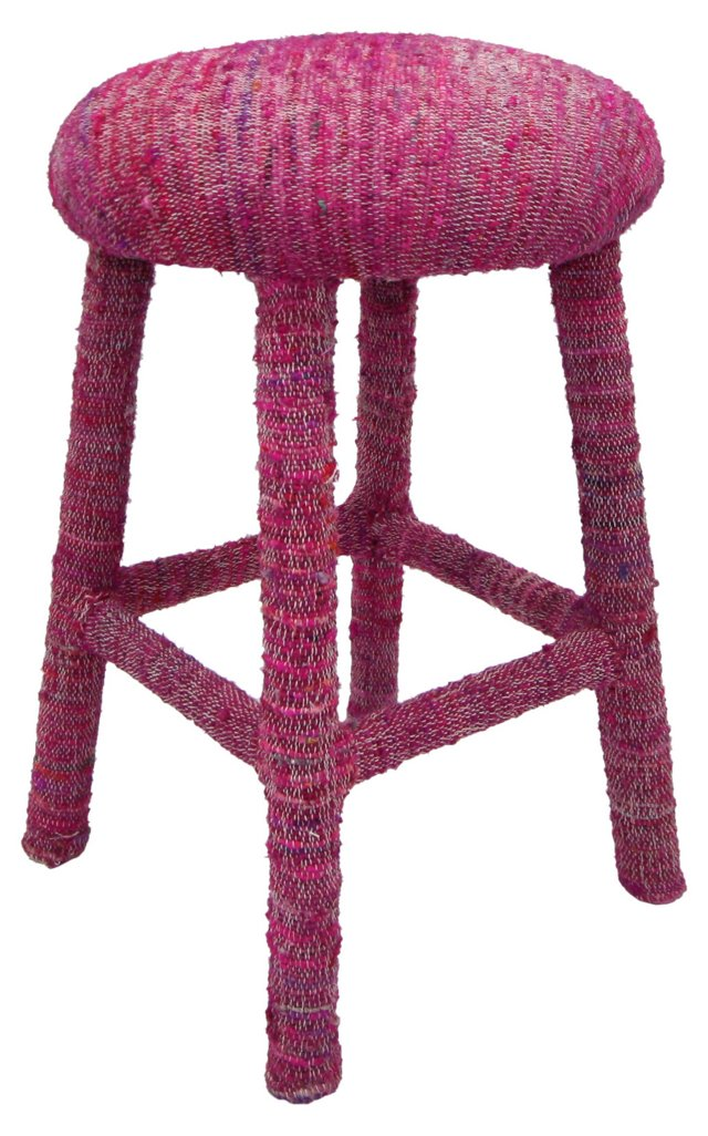 Recycled-Silk Counter Stool, Pink
