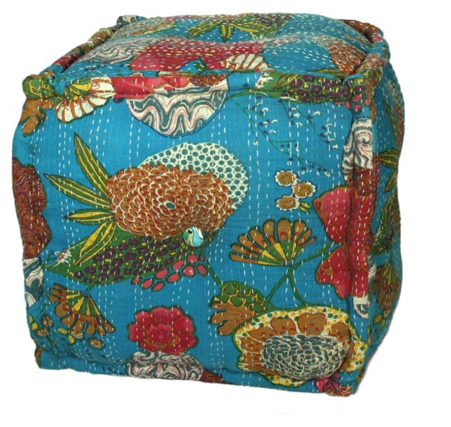 Boheme Pouf, Blue/Multi