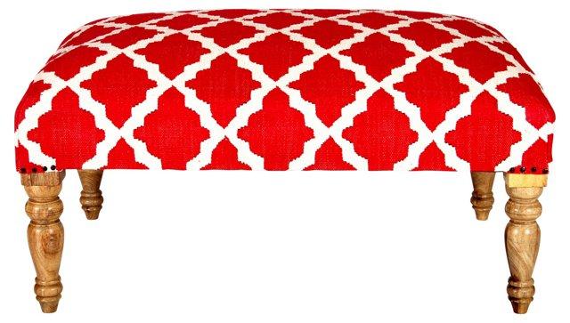 Bellina Trellis Bench, Cherry Red
