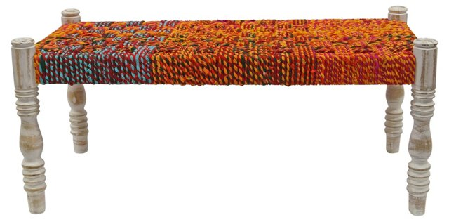 Gemma Braided-Rope Bench, Persimmon