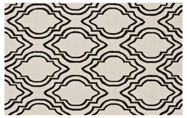 5'x8' Talia Rug, Sand/Black
