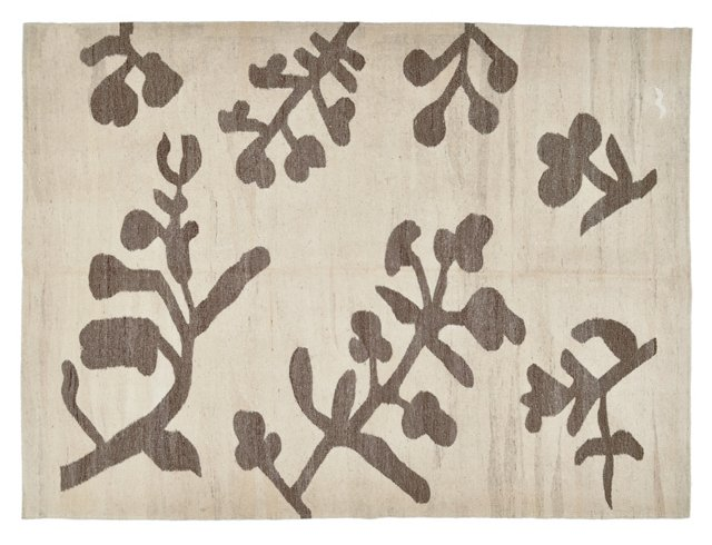 "5'11""x8' Gomal Flat-Weave Rug, Linen"