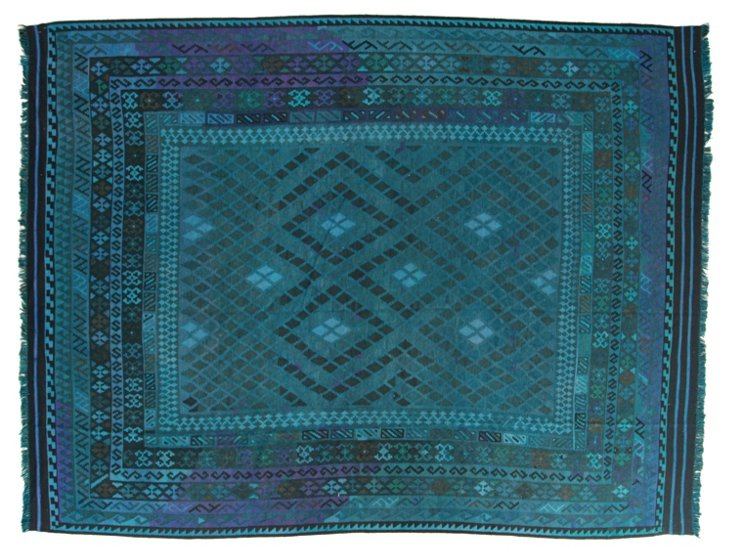 """8'1""""x10'7"""" Camille Flat-Weave Rug, Teal"""
