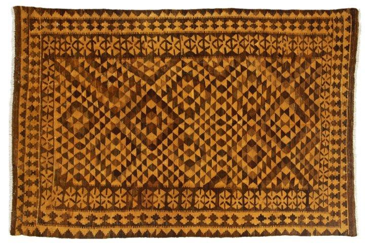 """6'5""""x9'10"""" Aviva Flat-Weave Rug, Gold"""