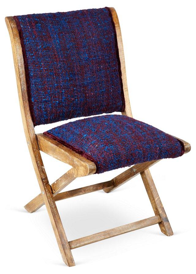 Sari Silk Folding Chair, Midnight Blue