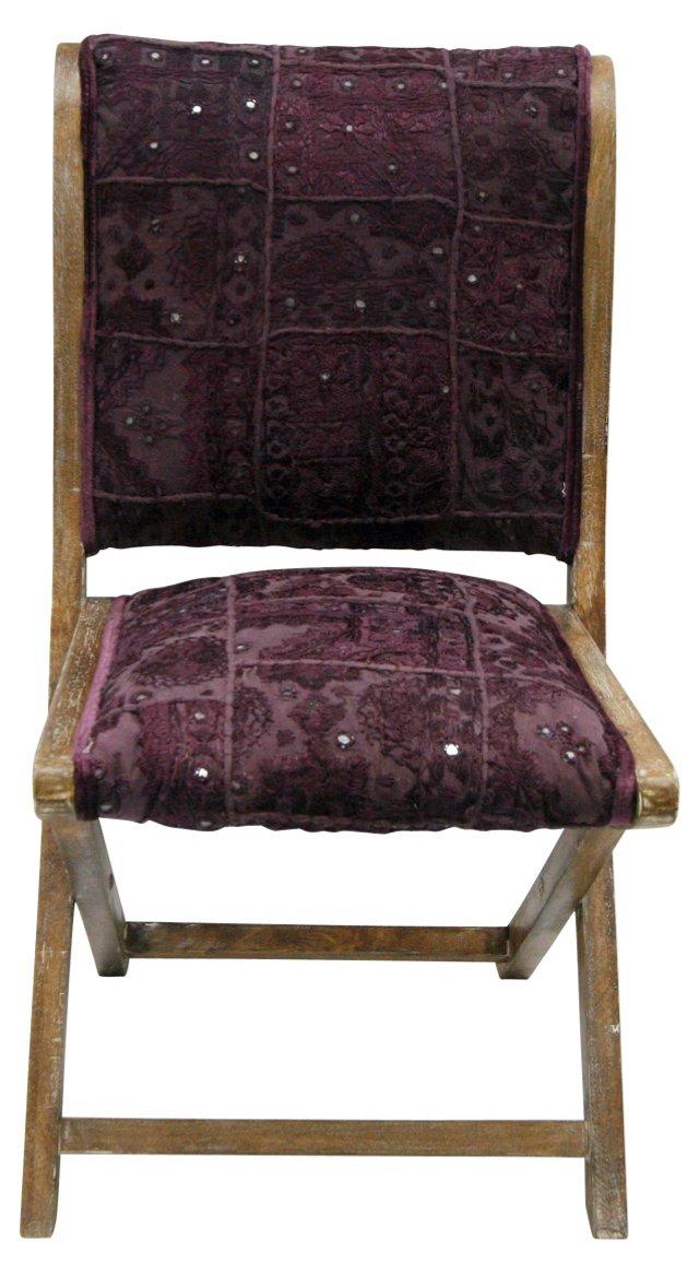Sari Silk Folding Chair, Aubergine