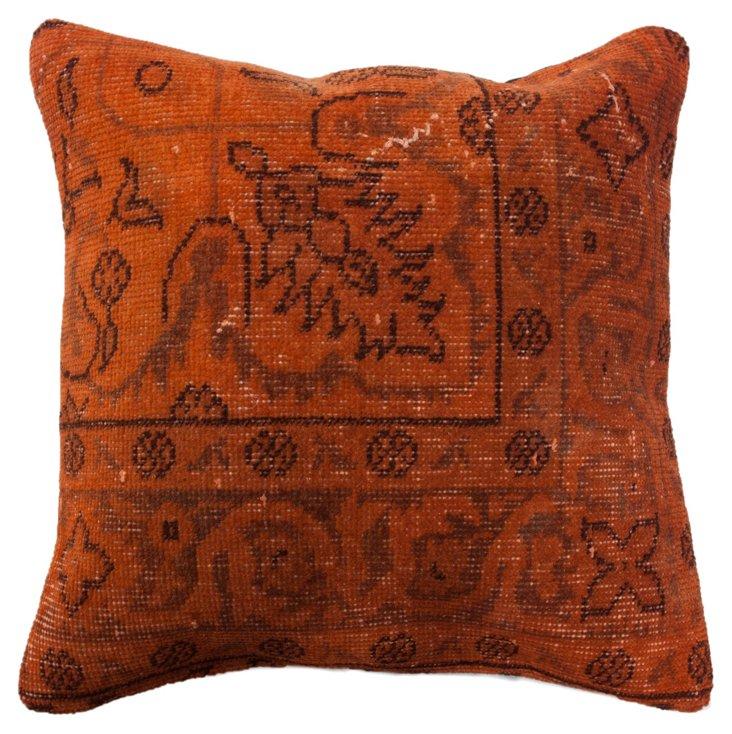Persian 20x20 Pillow, Orange/Black