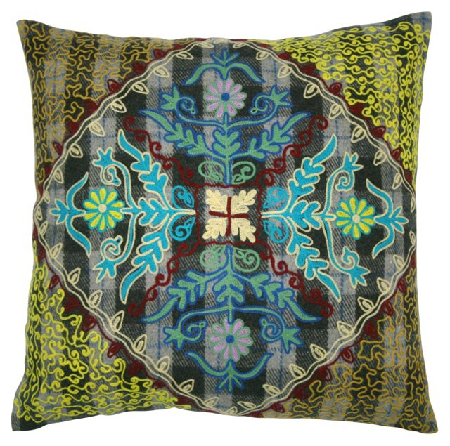 Crest 20x20 Embroidered Pillow, Multi