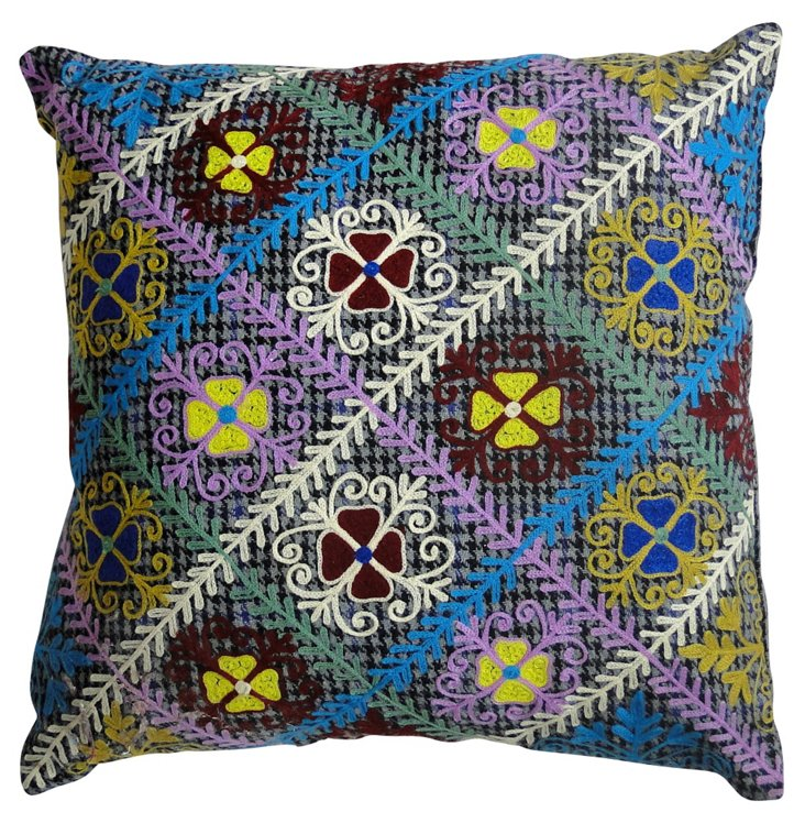 Fleur 20x20 Embroidered Pillow, Multi