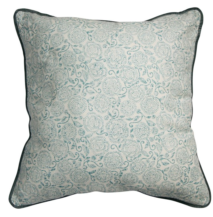 Pansy 18x18 Cotton Pillow, Light Blue